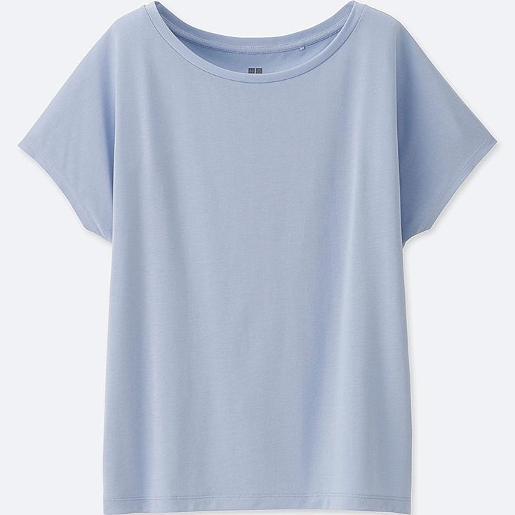 WOMEN DRAPE CREWNECK SHORT-SLEEVE T-SHIRT | UNIQLO US