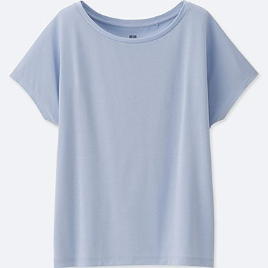 WOMEN DRAPE CREWNECK SHORT-SLEEVE T-SHIRT, BLUE, medium