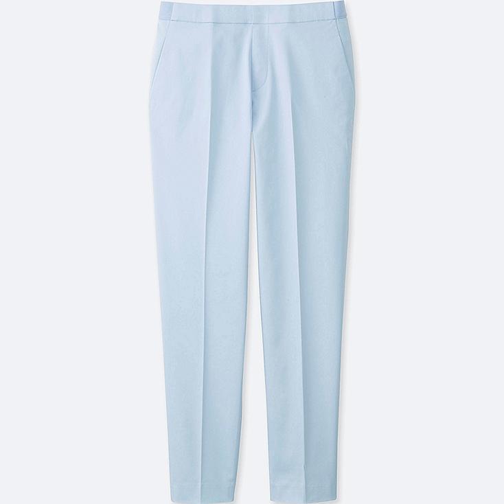 WOMEN SATIN ANKLE LENGTH PANTS, BLUE, large