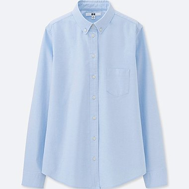WOMEN OXFORD LONG-SLEEVE SHIRT, BLUE, medium