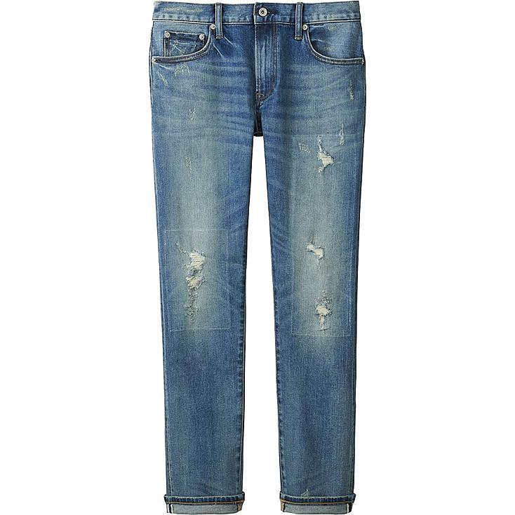 MEN SLIM-FIT DISTRESSED JEANS, BLUE, large