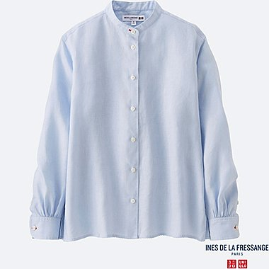 WOMEN INES Premium Linen Stand Collar Long Sleeve Shirt