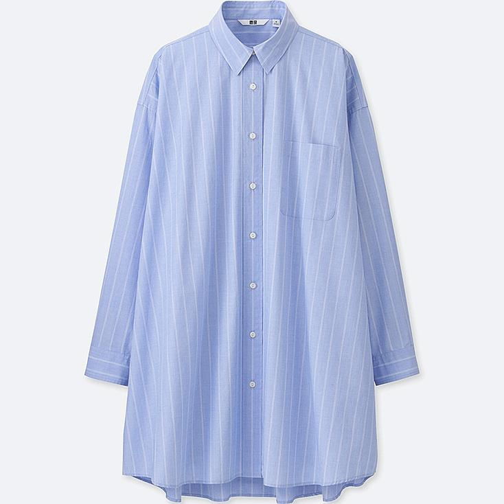 WOMEN EXTRA FINE COTTON OVERSIZED LONG SLEEVE LONG SHIRT, BLUE, large