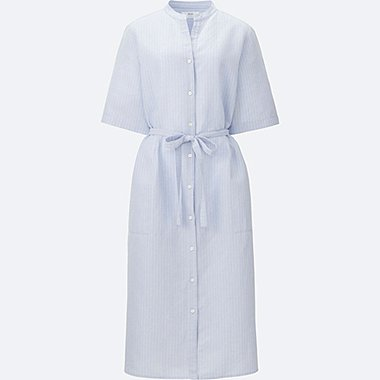 WOMEN Linen Cotton Striped Shirt Dress