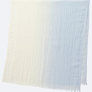 COTTON LINEN STOLE (GRADATION), BLUE, medium