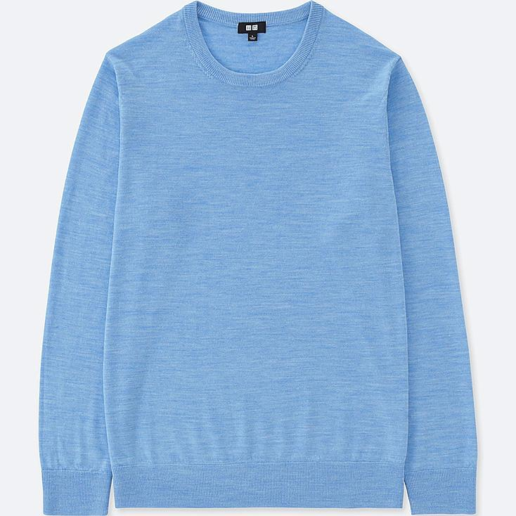 MEN EXTRA FINE MERINO CREWNECK SWEATER, BLUE, large