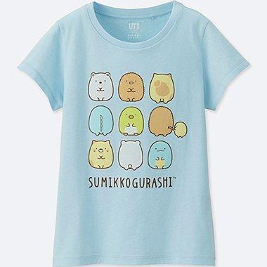 GIRLS SUMIKKO GURASHI SHORT-SLEEVE GRAPHIC T-SHIRT, BLUE, medium