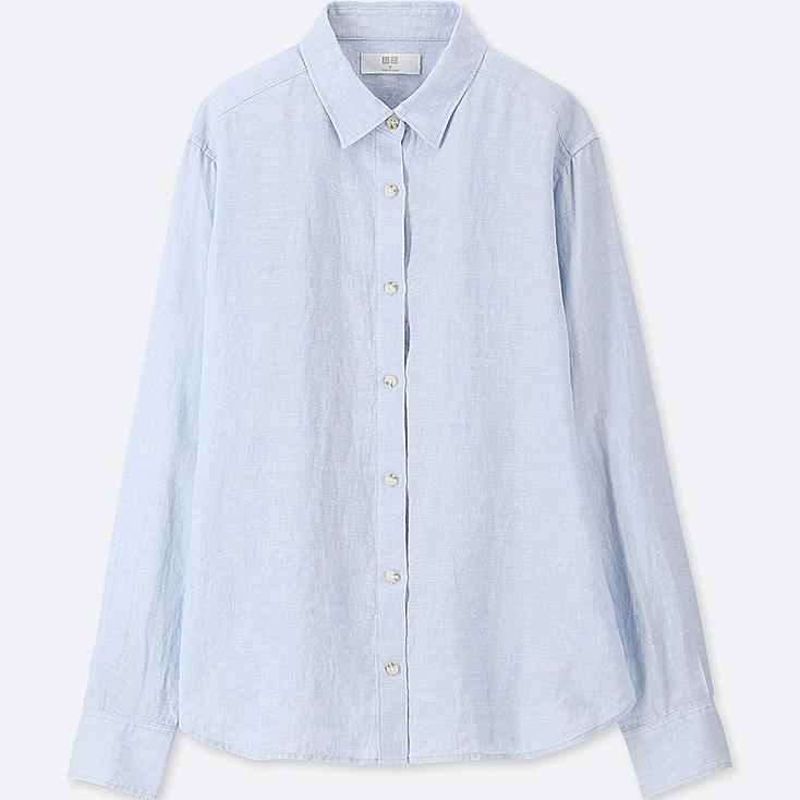 WOMEN PREMIUM LINEN LONG-SLEEVE SHIRT, BLUE, large