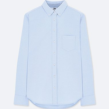 WOMEN OXFORD LONG-SLEEVE SHIRT (ONLINE EXCLUSIVE), BLUE, medium