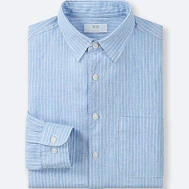 MEN PREMIUM LINEN STRIPED LONG-SLEEVE SHIRT, BLUE, medium