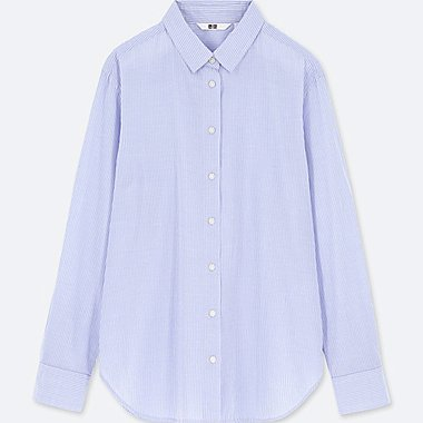 WOMEN SOFT COTTON STRIPED LONG SLEEVE SHIRT (ONLINE EXCLUSIVE), BLUE, medium