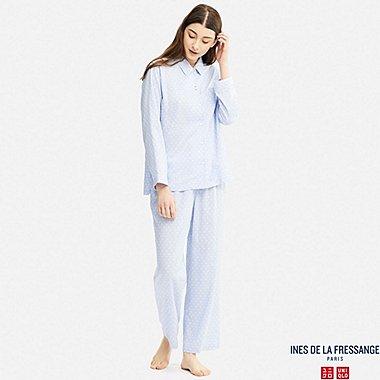 WOMEN IDLF LONG-SLEEVE RAYON PRINTED PAJAMAS, BLUE, medium