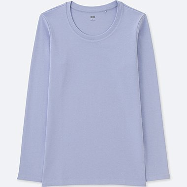 WOMEN COMPACT COTTON CREWNECK LONG-SLEEVE T-SHIRT, BLUE, medium