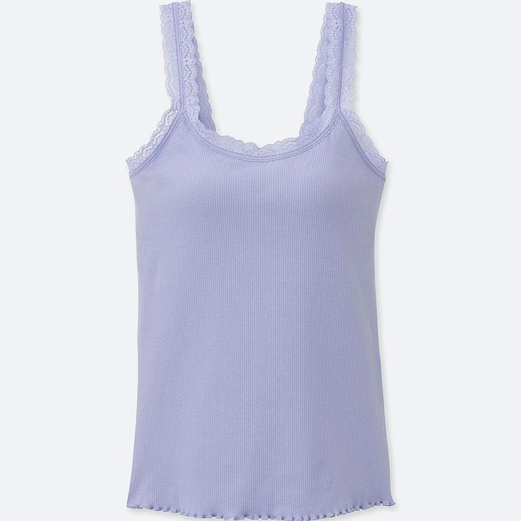 WOMEN RIBBED LACE BRA SLEEVELESS TOP, BLUE, large