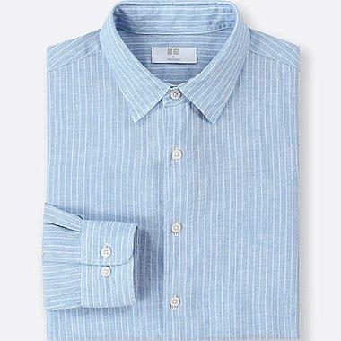 Herren 100% Premium Leinen Hemd (Gestreift)