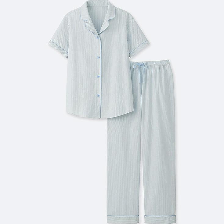 WOMEN COTTON STRETCH SHORT-SLEEVE PAJAMAS, BLUE, large