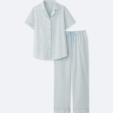 WOMEN COTTON STRETCH SHORT-SLEEVE PAJAMAS, BLUE, medium