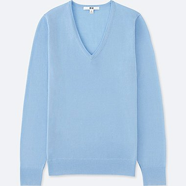 WOMEN EXTRA FINE MERINO V-NECK SWEATER, BLUE, medium