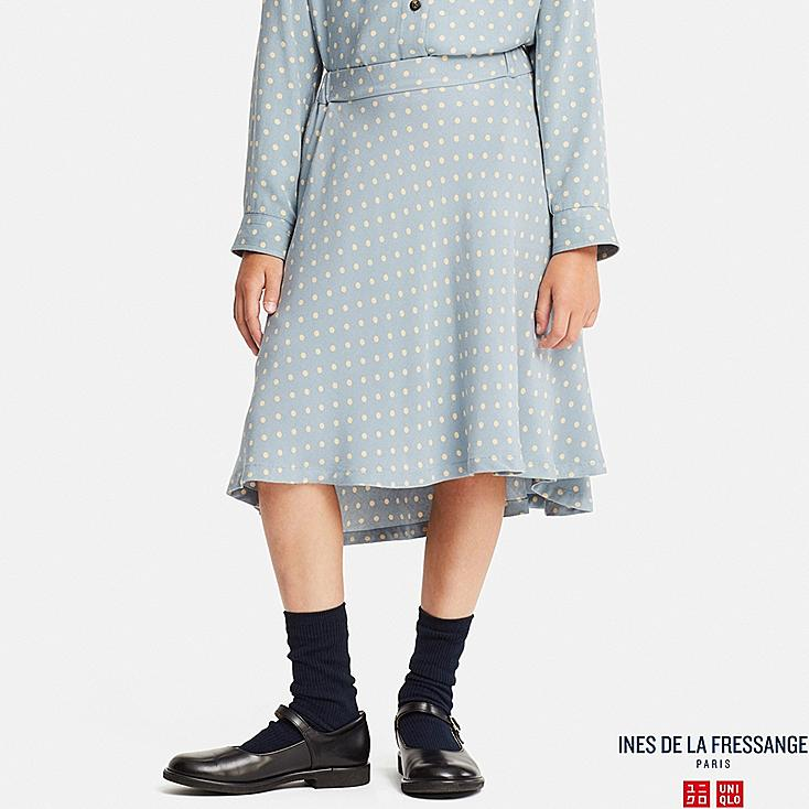 GIRLS RAYON FLARE SKIRT (INES DE LA FRESSANGE), BLUE, large