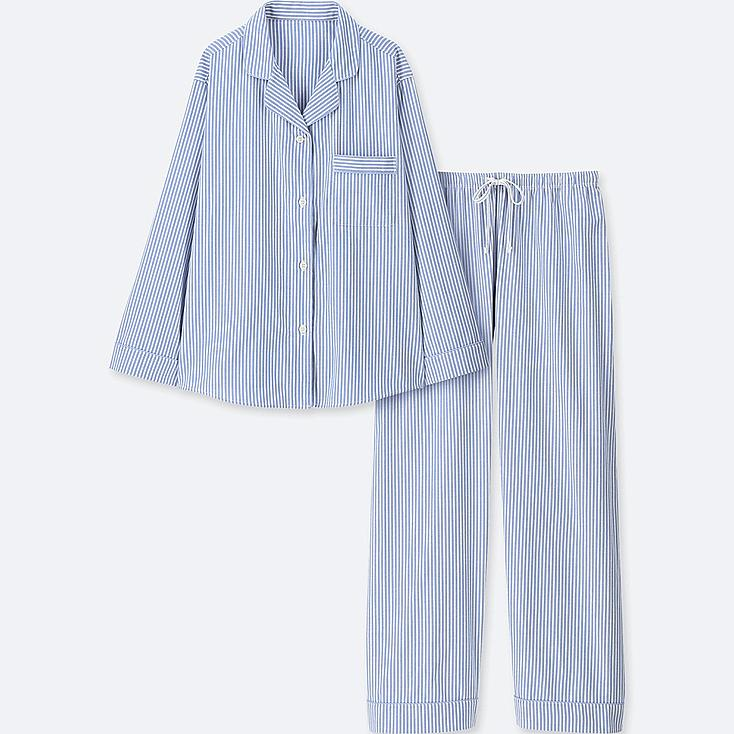 WOMEN COTTON LONG-SLEEVE PAJAMAS, BLUE, large