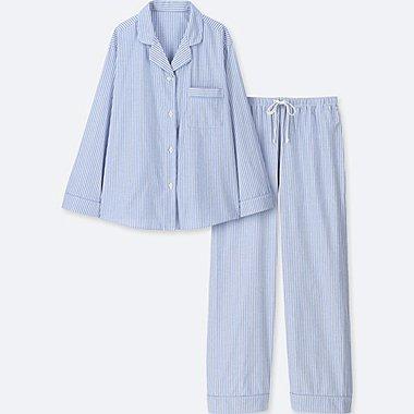 WOMEN COTTON LONG-SLEEVE PAJAMAS, BLUE, medium