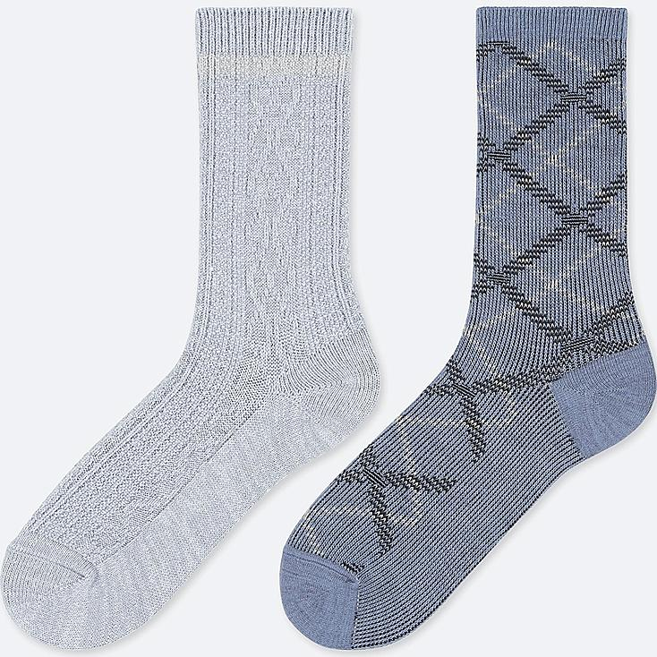 WOMEN HEATTECH CABLE SOCKS (2 PAIRS), BLUE, large