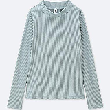 GIRLS RIBBED HIGH-NECK LONG-SLEEVE T-SHIRT, BLUE, medium