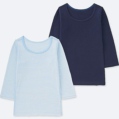 BABIES TODDLER COTTON INNER LONG SLEEVE T-SHIRT (2 PACK)