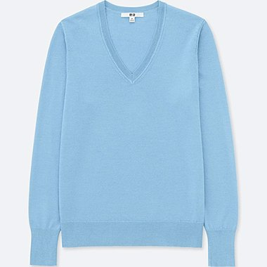 WOMEN EXTRA FINE MERINO V NECK JUMPER