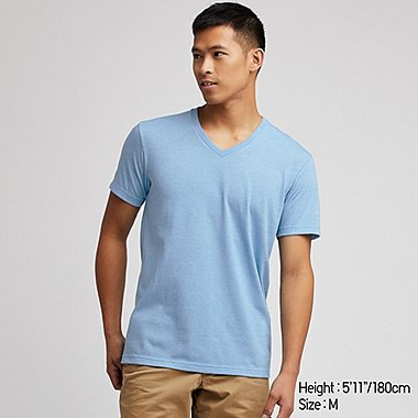 MEN PACKAGED DRY V-NECK SHORT-SLEEVE T-SHIRT, BLUE, medium
