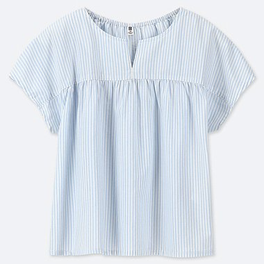 GIRLS STRIPED SHORT-SLEEVE BLOUSE, BLUE, medium