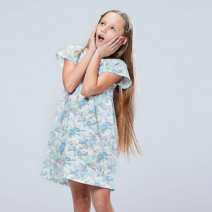 GIRLS STUDIO SANDERSON FOR UNIQLO SHORT-SLEEVE DRESS, BLUE, large
