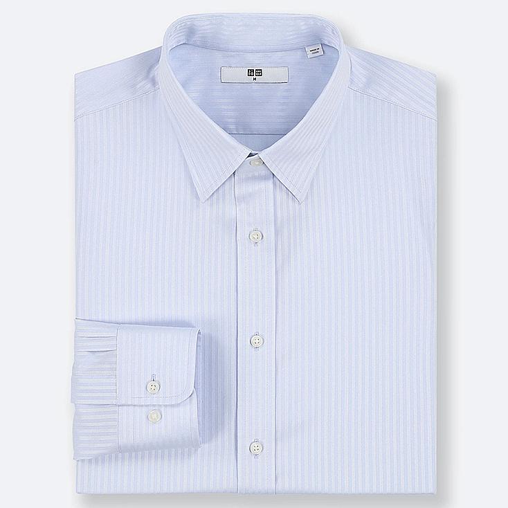 MEN EASY CARE DOBBY REGULAR-FIT LONG-SLEEVE SHIRT, BLUE, large