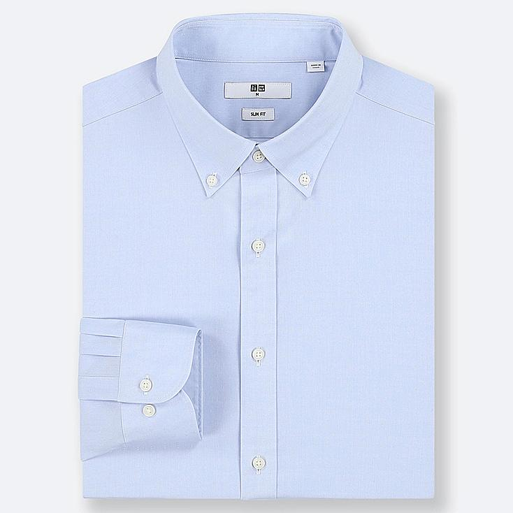 MEN EASY CARE DOBBY STRETCH SLIM-FIT LONG-SLEEVE SHIRT, BLUE, large