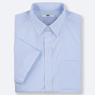 MEN DRY EASY CARE CHECKED SHORT-SLEEVE SHIRT (ONLINE EXCLUSIVE), BLUE, medium