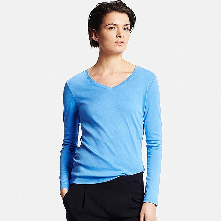 Women's Supima® Cotton Long Sleeve V-Neck T-Shirt | UNIQLO US