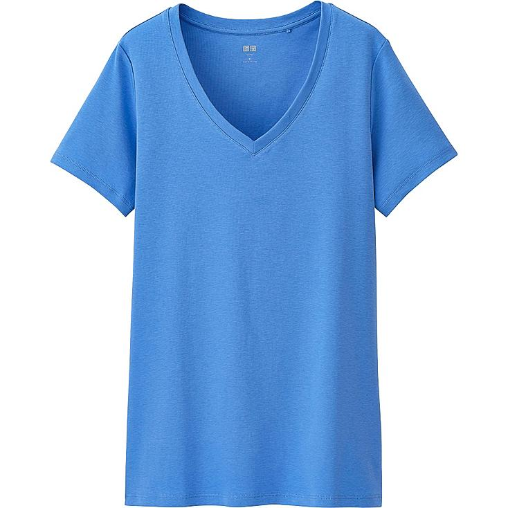 Women's Supima® Cotton V-Neck T-Shirt, BLUE, large
