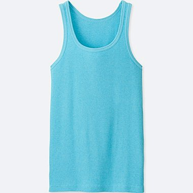 Mens DRY Colored Rib Tank Top, BLUE, medium