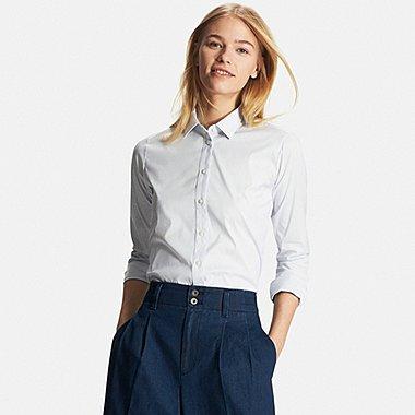 Womens Supima® Cotton Stretch Patterned Dress Shirt, BLUE, medium