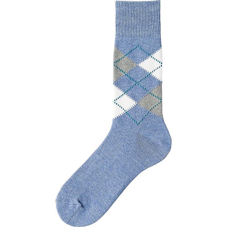 Men's Argyle Socks, BLUE, large
