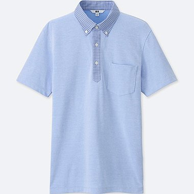 Mens DRY Button-Down Collar Polo Shirt, BLUE, medium