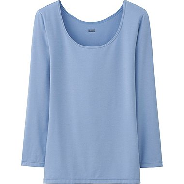 WOMEN HEATTECH SCOOP NECK T-SHIRT, BLUE, medium