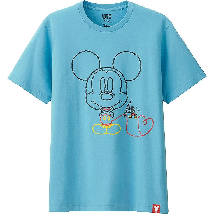 MEN MICKEY 100 SHORT SLEEVE GRAPHIC T-SHIRT, BLUE, large