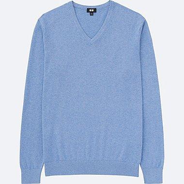 MEN COTTON CASHMERE V-NECK SWEATER, BLUE, medium
