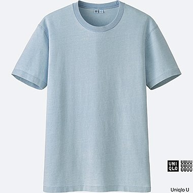 MEN U SHORT-SLEEVE INDIGO T-SHIRT, BLUE, medium