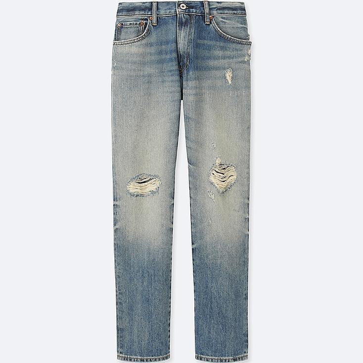Men Regular Fit Damaged Jeans, BLUE, large