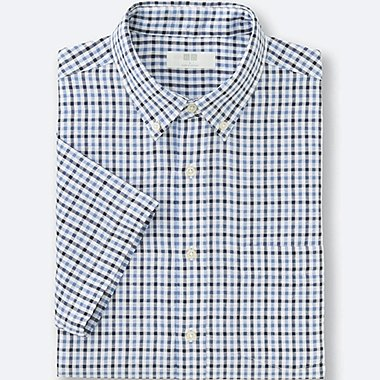 MEN LINEN COTTON CHECKED SHORT SLEEVE SHIRT, BLUE, medium
