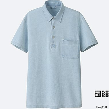 MEN U OVERSIZED INDIGO SHORT-SLEEVE POLO SHIRT, BLUE, medium