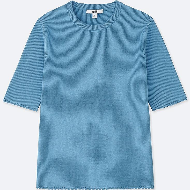 WOMEN SUPIMA® COTTON UV CUT RIBBED CREW NECK HALF-SLEEVE SWEATER, BLUE, large
