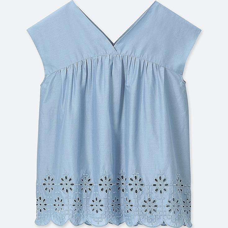 WOMEN COTTON EMBROIDERED SLEEVELESS BLOUSE, BLUE, large